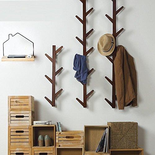 WEII Klädhängare i massivt trä för upphängning på väggen för vardagsrum, sovrum, dekoration