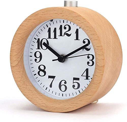 Houten wekker, handgemaakte kleine klassieke ronde klok met nachtlampje stille nachtlampje voor kantoorkamer