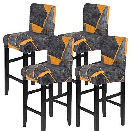 JuneJour Fundas para taburetes de bar elásticas, fundas para silla, fundas protectoras de asiento, fundas extraíbles y lavables, fundas para sillas de taburete, 2/4/6 unidades (juego de 4)