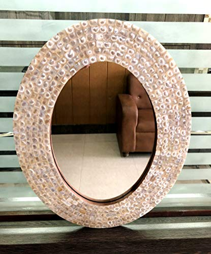 Marine Nautical Store - Espejo de pared con incrustaciones de nácar, ovalado, para decoración del hogar