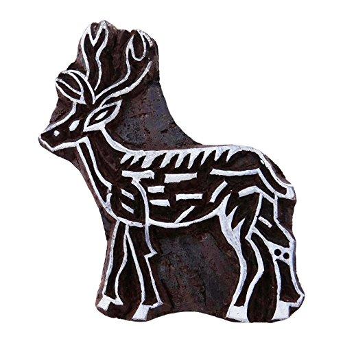 Knitwit Cerf des Marais Brown décoratifs Indiens Timbres Textiles en Bois Impression Bloc en Bois