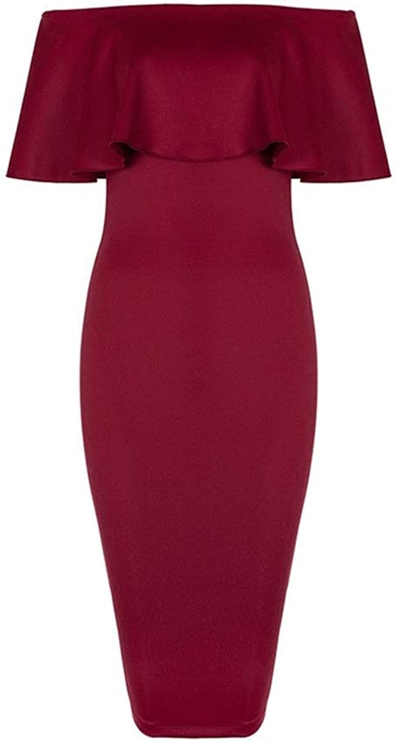 Women Elegant Off Shoulder Formal Evening Dress Cocktail Party Dress Bridesmaid Wedding Dresses Solid Bodycon Sheath Dress Slim Pencil Dress (color   Wine red, Size   M)