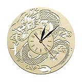 Reloj de Pared dragón Arte Antiguo Reloj de Pared un Reloj de Madera Cortado con láser hogar Cocina Sala de Estar Colgante de Pared Arte Amante del dragón Reloj Chino 30 x 30 cm