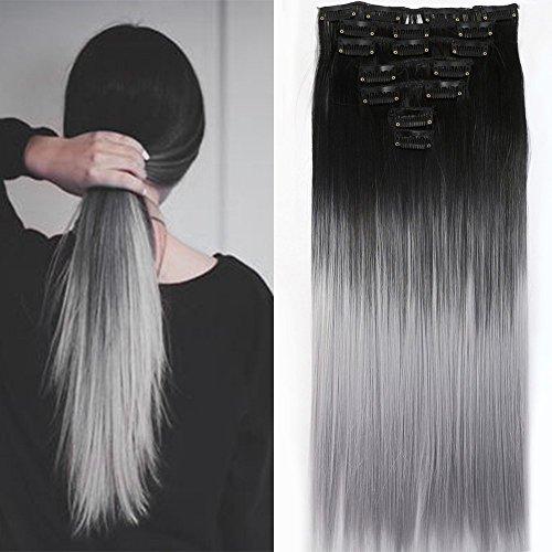 Preisvergleich Produktbild Neverland Beauty 7 Tressen Haarverlangerung Glatt Clip In Ombre Extensions Haarverdichtung Licht Auburn Naturliche Schwarz Silbergrau