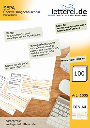 SEPA-Überweisung/-Zahlschein mit Quittung, 100 Blatt A4, unteres 1/3 mikroperforiert, inkl. kostenfreier Vorlage zum Herunterladen und € 10,- Gutschein für onlinebrief24.de