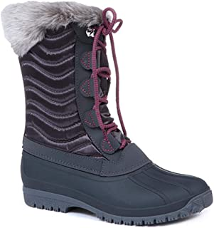 Pavers Womens Lace Up Snow Boots Water Resistant Padded Deep Gripped Sole Shoes
