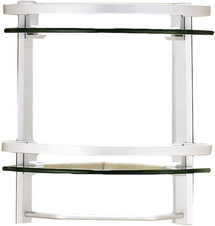 Bathroom Ware Shelf Wall-Mounted Glass Corner Storage Rack (color   2nd Floor)