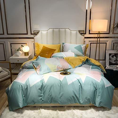 yaonuli High-End-Bettwäsche High-Density High-Density Langstapel-Baumwolle Vierteilige Bettbezüge aus bedruckter Baumwolle 200 * 230 Blatt 245 * 250 Kissenbezug 48 * 74 * 2