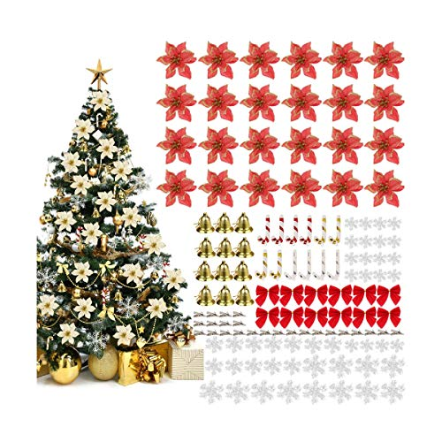 Nuxn 120pcs Red Christmas Tree Ornaments Set Including Christmas Glitter Poinsettia Flowers Mini Christmas Bows and Christmas Tree Hanging Bells for Xmas Wreaths Decorations