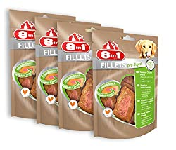 8in1 Fillets Pro Digest chicken snack, functional treats for dogs, various types, packs of 4 (4 x 80 g)