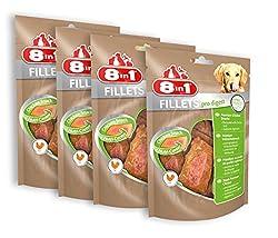 8in1 Fillets Pro Digest Hähnchensnack, funktionale Leckerlies für Hunde, verschiedene Sorten, 4er Packs (4 x 80 g)
