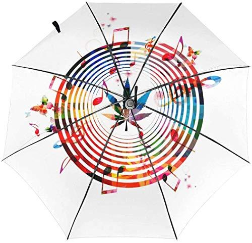 Cannabis Sativa Music Automatischer Dreifach Faltbarer Regenschirm Sonnenschirm, Sonnenschirm, Sonnenschirm, Innendruck