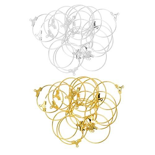 F fityle Pack de 40plata oro en latón DIY Circular anillo aro círculo stud pendiente de oído Inalámbrico Hoop Pendientes
