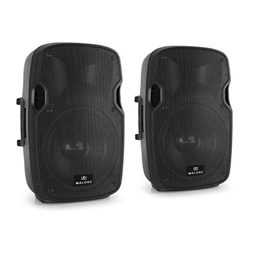 Malone PW-2912A aktiver Karaoke PA-Lautsprecher Paar mit Mikrofoneingang (2x 30cm (12 Zoll) Tieftöner,2x 280W RMS, 2x Mikrofonsektion mit XLR- und Klinken-Eingang, AUX) schwarz