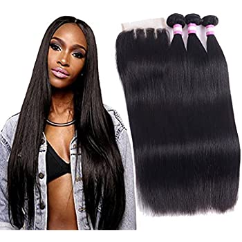 8A Brazilian Straight Hair With Closure,Grace Length Human Hair Extensions 3 Bundles with 4x4 Three Part Lace Closure Natural Black (14 16 18+12inch)