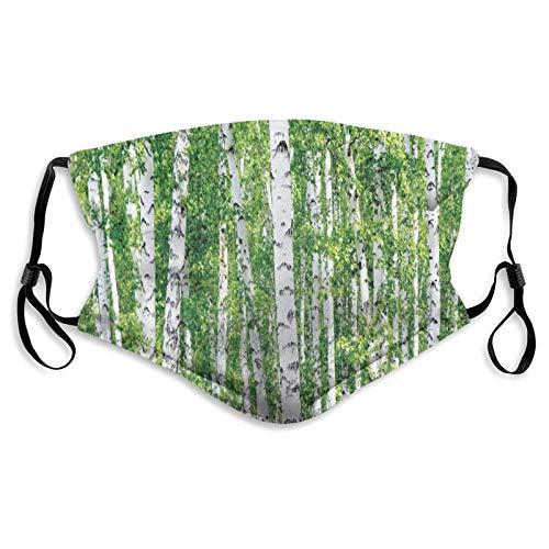 Protector de boca y nariz de tela, hojas verdes frescas de verano, paisaje rural, imagen ambiental, bandana reutilizable de media cara, funda protectora lavable, longitud ajustable (M)