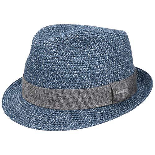 Stetson Sombrero Reidton Toyo Trilby Mujer/Hombre - de Verano Hombre Paja Primavera/Verano - S (54-55 cm) Azul