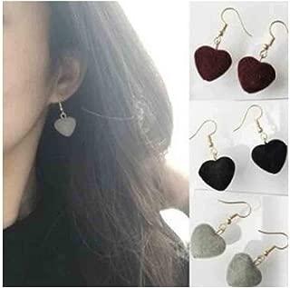 Olbye Heart Pom Earrings Fluffy Drop Earrings Dainty Small Earrings Studs for women and Girls