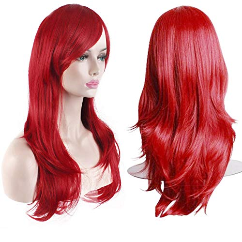 """AKStore Fashion Wigs 28"""" 70cm Long Wavy Curly Hair Heat Resistant Wig Cosplay Wig For Women With Free Wig Cap (Red)"""