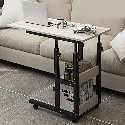 Mesita de noche para computadora portátil, sobre cama móvil ajustable en altura con estante para revistas Dibujar súper resistente y estable para la oficina en casa (Color: D, Tamaño: 80x40cm)