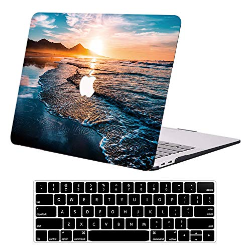 AUSMIX MacBook Air 13 Inch Case 2021 2020 2019 2018 Version A1932 A2179 A2337 M1,Rubber Matte Plastic Hard Shell Cover Case with Keyboard Cover for MacBook Air 13 with Retina Display Touch ID - Beach