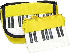 ピアノ鍵盤ミニショルダーバッグ&ポーチのセット(イエロー)