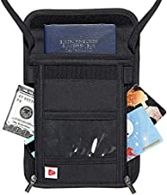 AIKELIDA Passport Holder Neck Wallet Travel Pouch Organizer with RFID Blocking, Security Zipper Concealed Organized Wallet to Keep Cash Card Safe