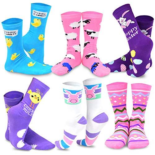 TeeHee Damen Oster-Tages-Socken, 6 Paar Gr. Medium, Osterhase und Eier