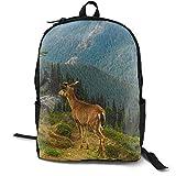 Mochila unisex clásica de ciervos de montaña, bosque de hierba, casual, para viajes, camping, al aire libre, mochila para portátil