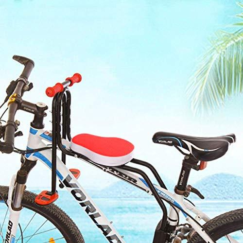 WZOED Kindersitz Fahrradsitz Kind Modischer Abnehmbarer Fahrrad-Vordersitz Kindersitz Halterung Pedal mit Griff für Herrenfahrrädern und Damenrädern Hohe Qualität Sicherheit (Positives Rot)