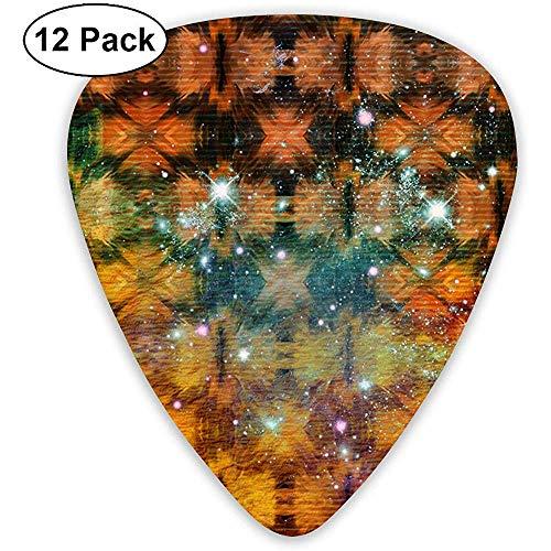 Paquete de 12 púas de guitarra con bandera nacional de piel estrellada: 3 tamaños diferentes que incluyen: delgado, mediano y pesado