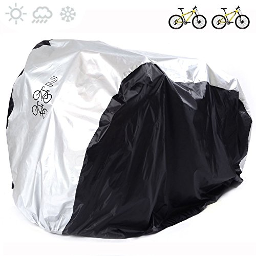 Cubierta universal para bicicleta de nailon 190T impermeable, portátil y ligera para almacenamiento exterior o interior de 2bicicletas, de Fucnen