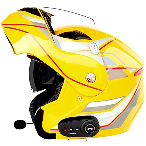 ZPTTBD Bluetooth Casco Moto Modular Certificado ECE Cascos de Moto Integral Hombre Mujer con Doble Visera para Motocicleta Scooter, Casco Moto con Bluetooth Integrado (Color : F, Size : (XL/61-62CM))