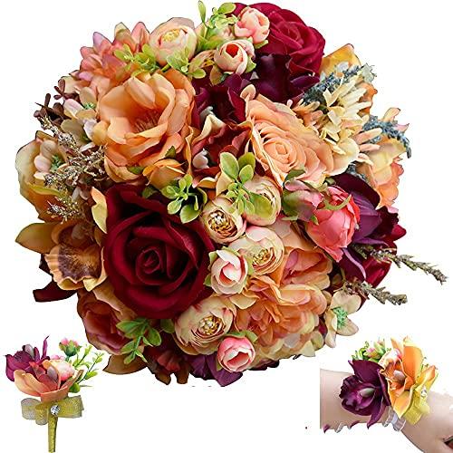 lsdjfhlk Tema de otoño Burgoña Rose Flores Boda Flores Salvajes Ramo de Boda Anaranjado Grande y pequeño 3pcs Colocar Ramo de Novia (Color : Size L 3PCs Set)