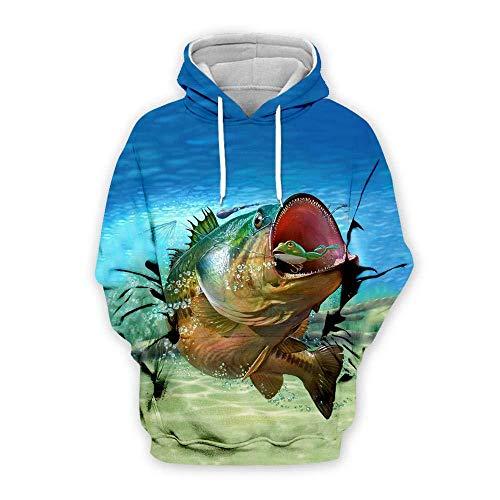 yyqx container Sweat-Shirt à Capuche 3D Fish Hoodies 3D Unisexe All-Over imprimé drôle à Manches Longues Pull avec Kangourou Poche Sweat à Capuche Sweat-Shirts-Couleur , M