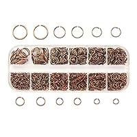 ジュエリーメーカー1050ピース0.7mmメッキカラーオープンジャンプリング混合4mm 5mm 6mm 7mm 8mm 10mmアイアンスプリットリング6色 (色 : Red copper, サイズ : Box 13x5x1.5cm)