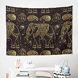 Gamoii Gold Elefant - Manta de pícnic para Colgar en la Pared, Color marrón, poliéster, Blanco, 200x150cm