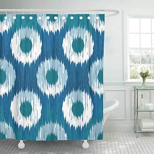 N\A Stoff Duschvorhang mit Haken Kreise Indigo Ikat Tupfenmuster Faux Grafik Extra langes dekoratives Badezimmer Geruchlos umweltfre&lich