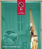 Fadenvorhang 150 cm x 500 cm türkis in B1 schwer entflammbar