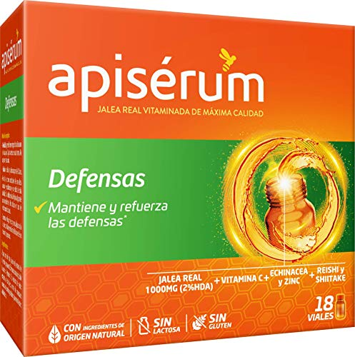Apisérum Defensas Viales bebibles - Jalea Real con Vitamina C, Reishi y Shitake – Mantiene y refuerza las defensas- Tratamiento para 18 días
