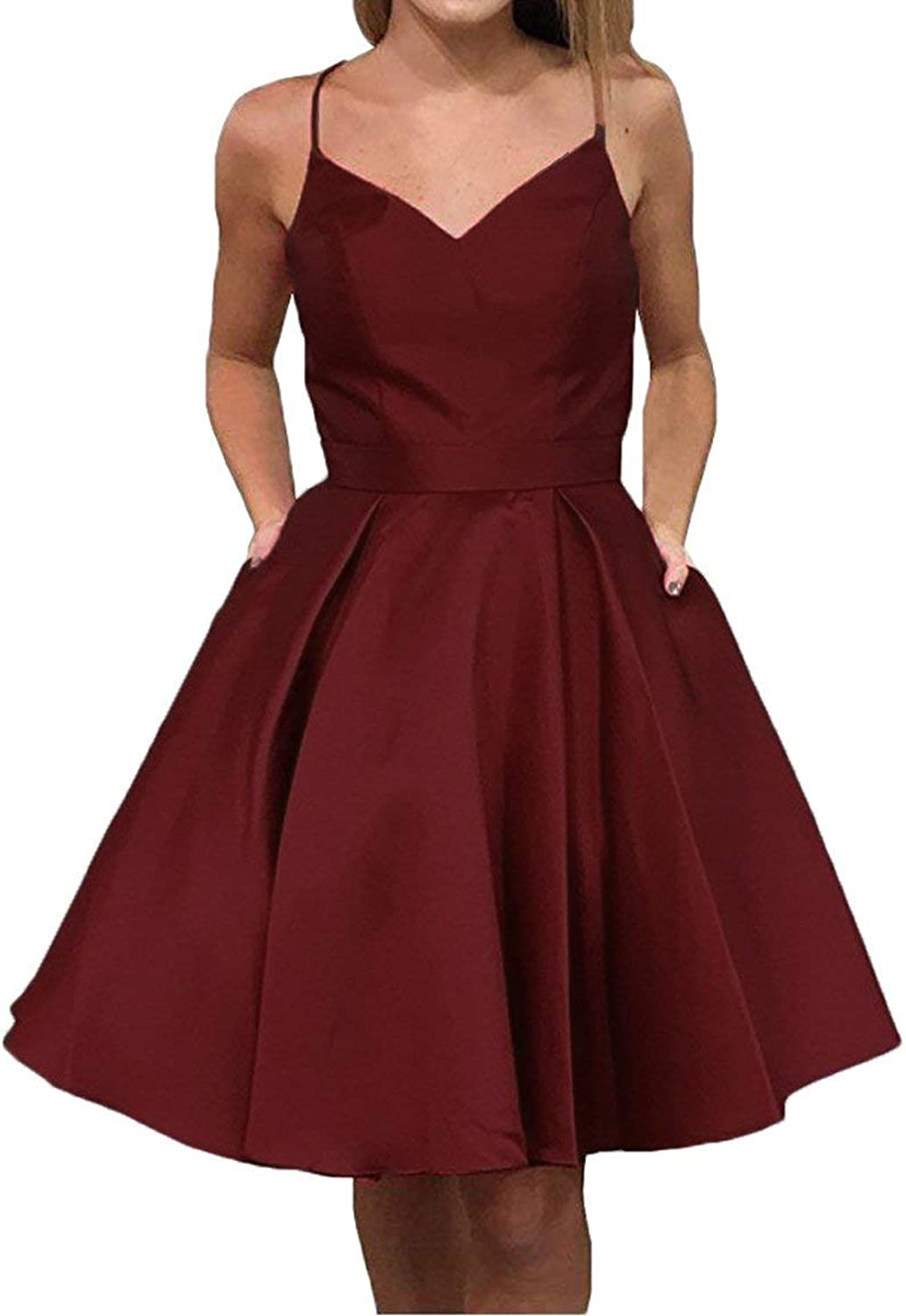 JQLD Cute Straps Knee Length Homecoming Dresses Short Sleeveless Party Cocktail Dress with Pockets