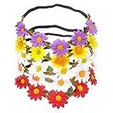 Honbay 5PCS Daisy Flower Headband Bohemian Flower Crown Floral Headband with Elastic Ribbon