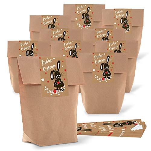 Logbuch-Verlag kleine bruine paaszakken verpakking 16,5 x 26 x 6,6 cm + Paashaas paaststicker 7,2 x 21 cm tekst Frohe Pasen geschenk sticker bruin zwart wit rood 25 Stück
