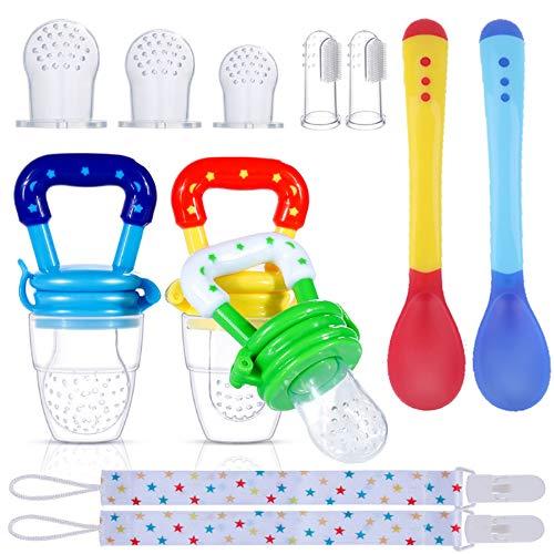 Fabur Chupete Fruta,Pinza de Chupete, Cucharas de Alimentación para bebés, Cepillo de Dedo para bebé, reemplazo de bolsa de silicona para bebés(12 Piezas)