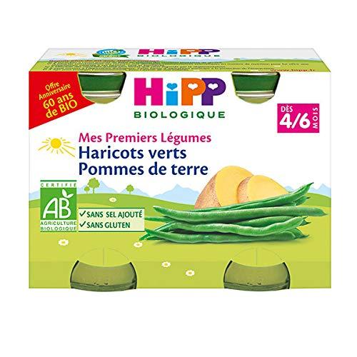 Hipp Bio Mes Premiers Légumes Haricots Verts Pommes de Terre 4-6m Lot de 2 x 125g