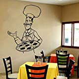 Tianpengyuanshuai Pizza Sticker Mural fenêtre Vinyle Autocollant Pizza Cuisine Italienne Restaurant Cuisine décoration Chef Murale 75x104 cm