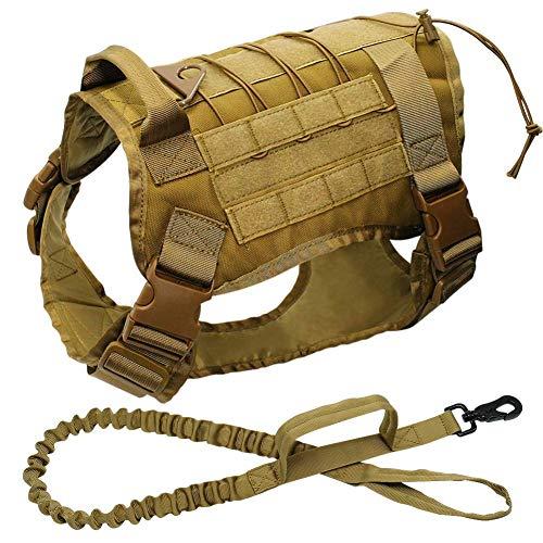 Military Tactical Hundegeschirr Arbeitsweste Nylon Bungee Training Leine-Blei-Lauf Medium Large Hunde kshu (Color : Yellow, Size : Chest 66 to 90cm)