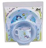 Baby Esset Kindergeschirr 5tlg mit Teller Besteck Schale Tasse 3 Farben wählbar (blau - Delfin)