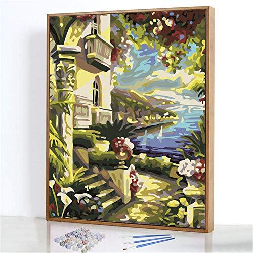Diy Digitale Olieverfschilderij,Paviljoen aan zee Schilderen Door Cijfers,Linnen Canvas ,Foto Voor Binnendecoratie - 40x50cm(Frameloos)