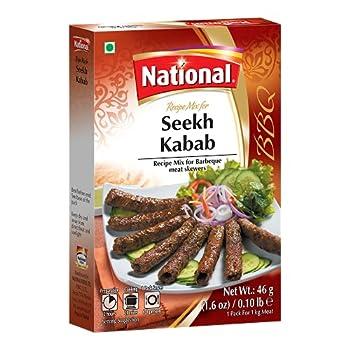 National Foods Seekh Kabab Recipe Mix 1.60 oz  46g  | South Asian BBQ Masala Powder | Traditional Spicy Kebab Seasoning | Box Pack